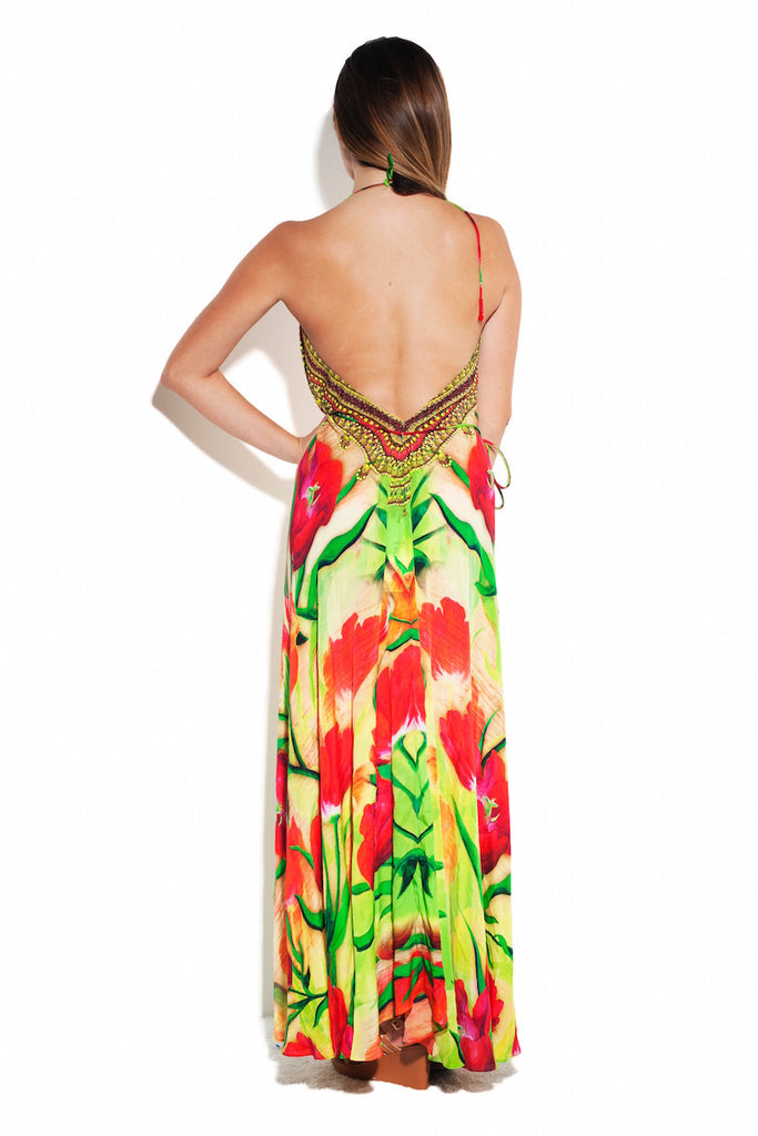 Tulip Red Infinity Long 3 Way Dress Parides