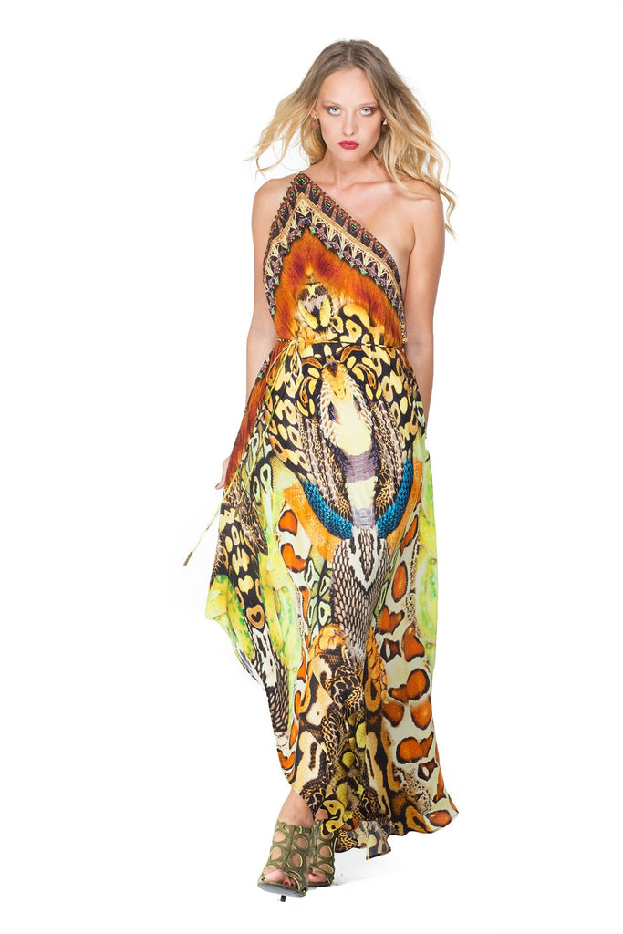 Python Brown Infinity Long 3 Way Dress Parides