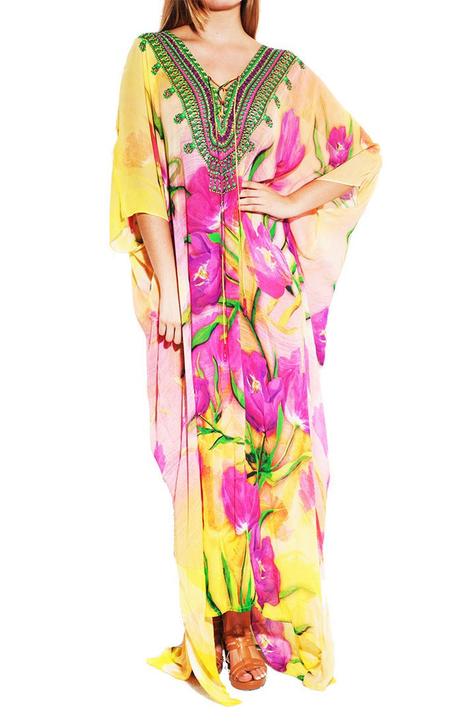 Tulip Purple Lace Kaftan Long Parides Dress