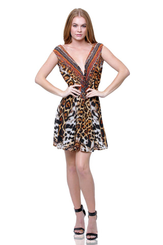 Cheetah Creme Soufflé SHAHIDA PARIDES WRAP DRESS