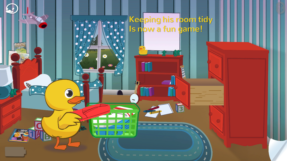 Interactive game within the story Edwin Feeling Small encourages children to clean their room.