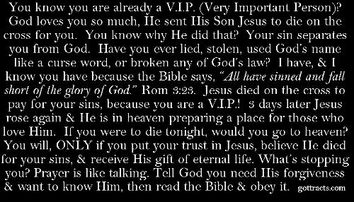VIP Card Gospel Tracts
