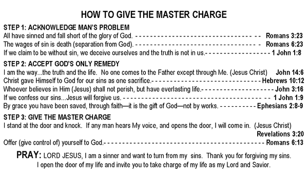 Master Charge Gospel Tracts