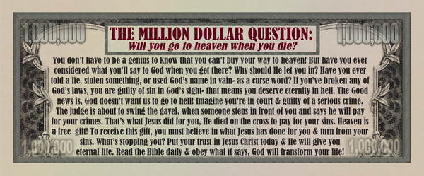Million Dollar Bill Gospel Tracts