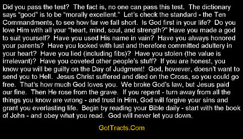 Good Person Test Gospel Tracts