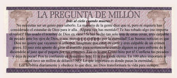 Spanish Million Peso Gospel Tracts