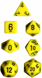 Chessex Opaque Yellow w/Black Polyhedral 7-Die Set