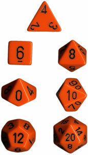 Chessex Opaque Orange w/Black Polyhedral 7-Die Set