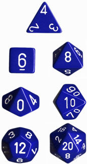 Chessex Opaque Blue w/White Polyhedral 7-Die Set