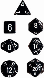 Chessex Opaque Black w/White Polyhedral 7-Die Set