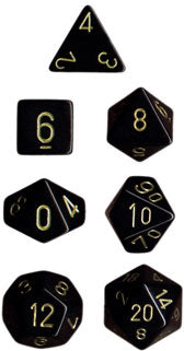 Chessex Opaque Black w/Gold Polyhedral 7-Die Set