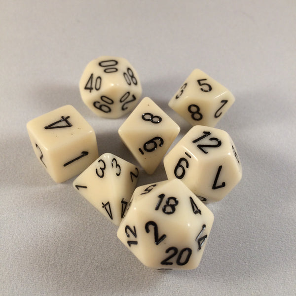 Chessex Opaque Ivory w/Black Polyhedral 7-Die Set