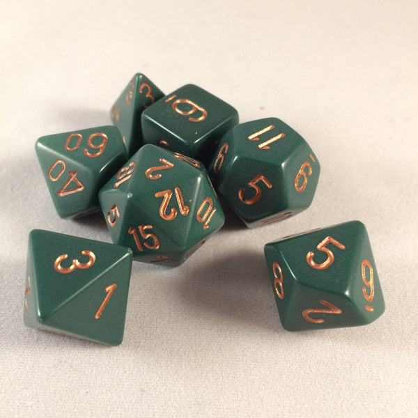Chessex Opaque Dusty Green w/Gold Polyhedral 7-Die Set