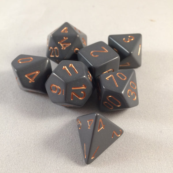 Chessex Opaque Dark Grey w/Copper Polyhedral 7-Die Set