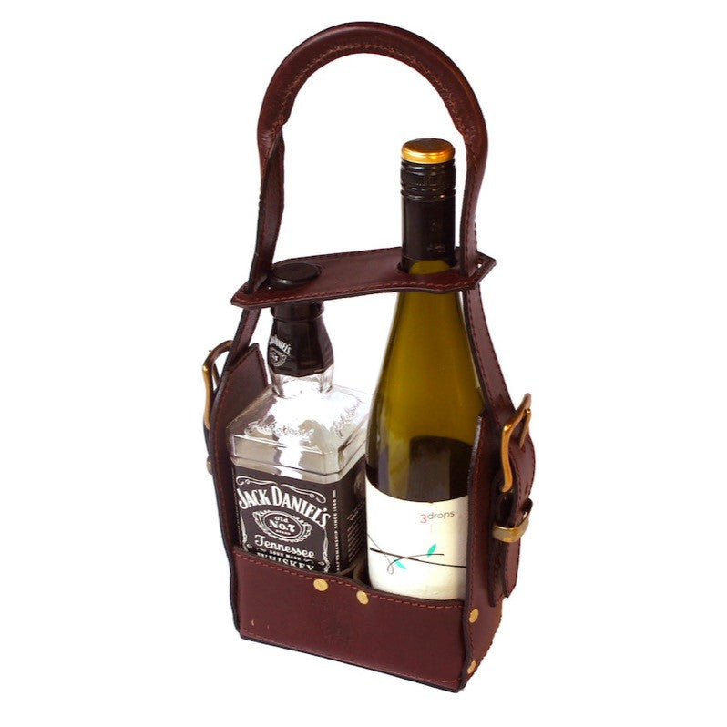 Take Anywhere Leather Wine Cradle