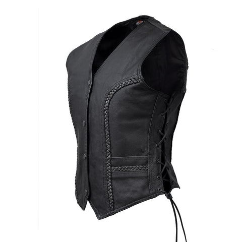 VL1051 Ladies Lace Side Vest with Gun Pockets and Trimmed In Braid