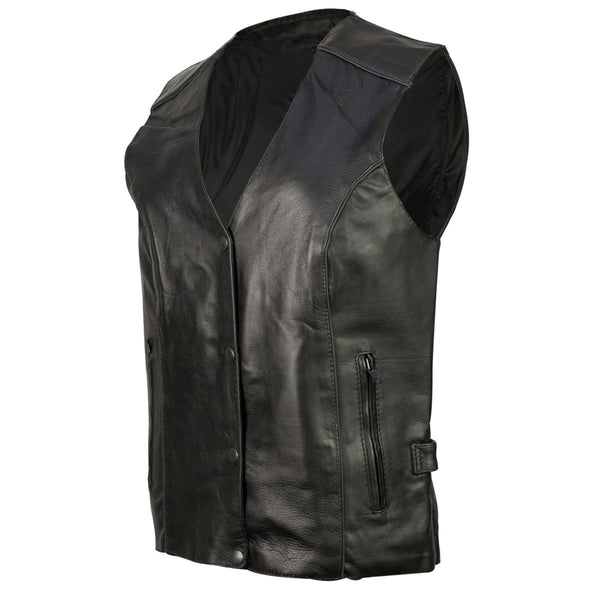 VL1082 Vance Leather Women's Classic Leather Motorcycle Vest with Reflective Wings - Daytona Bikers Wear
