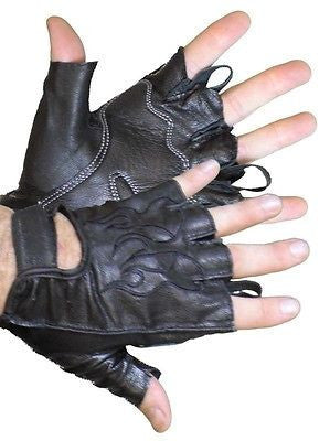 VL447 Vance Leather Fingerless Gloves with Gel Palm - Daytona Bikers Wear