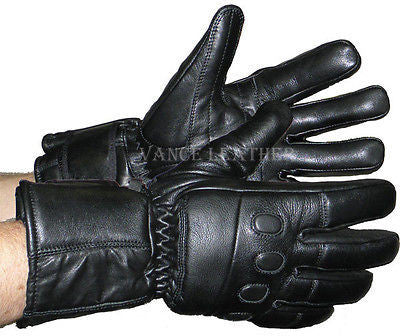 VL445 Vance Leather Insulated Leather Gauntlet Gloves With Padded Knuckles - Daytona Bikers Wear
