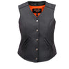 Vance Leather VL1047S Ladies Five Snap Split Leather Vest