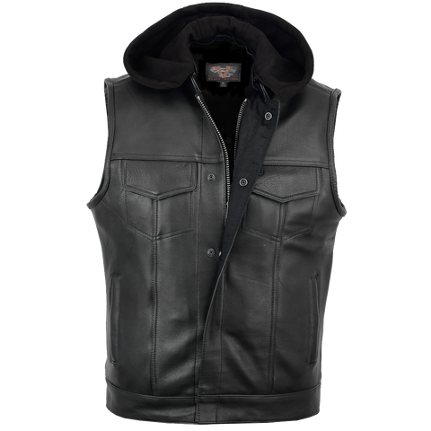 VL914H Vance Leather Zipper and Snap Closure Leather Motorcycle Club Vest with Hoodie