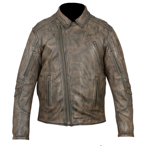 HMM517DB Men's Distressed Brown Leather Racer Jacket with Vents