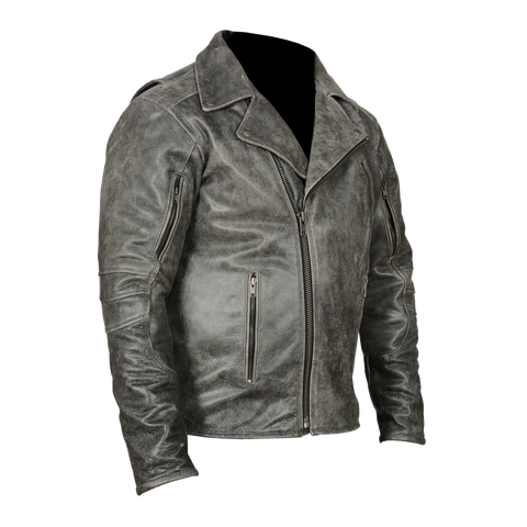 HMM517DG Men's Distressed Gray Leather Racer Jacket with Vents