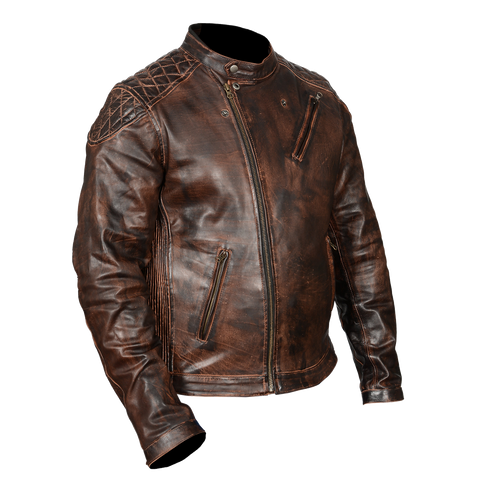 HMM521VB High Mileage Men's Vintage Brown Leather Jacket with Diamond Stitched Shoulders