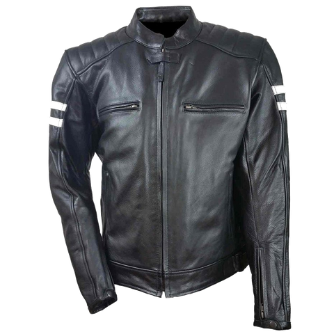 HMM537 Men's Leather Vented Scooter Jacket W/2 White Stripes