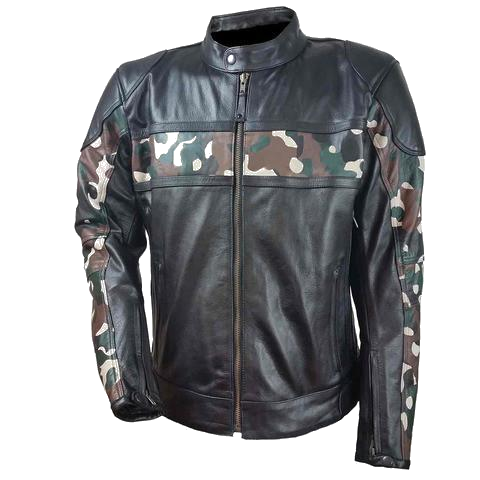 HMM540 Men's Leather Scooter Jacket with Camouflage