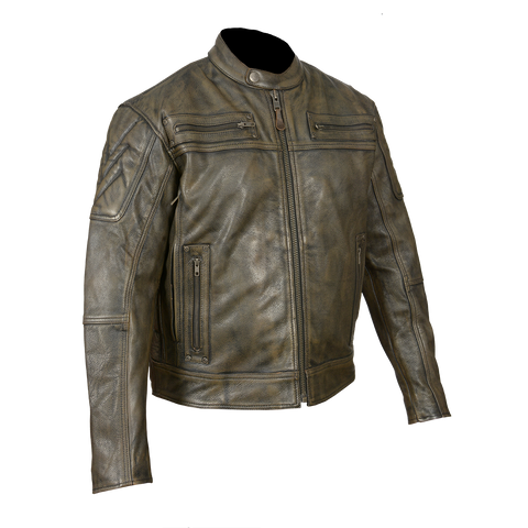HMM542DB Men's Distressed Brown Padded and Vented Leather Scooter Jacket