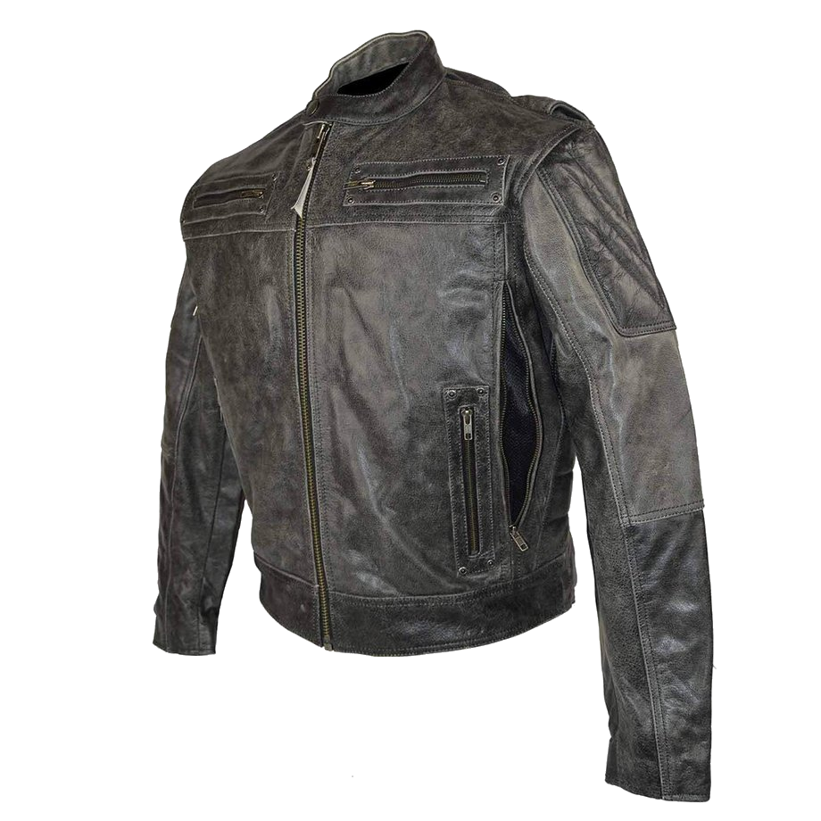 358eaea09 HMM542DG High Mileage Men's Distressed Gray Padded and Vented Leather  Scooter Jacket