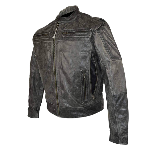 HMM542DG High Mileage Men's Distressed Gray Padded and Vented Leather Scooter Jacket