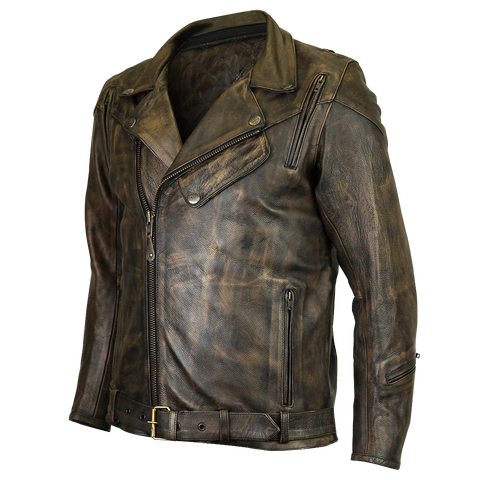 HMM545DB  Distressed Brown Classic Biker Leather Jacket