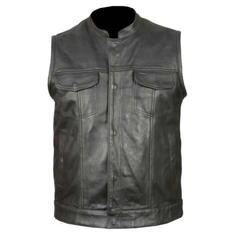 VL914 Vance Leather Zipper and Snap Closure Leather Motorcycle Club Vest