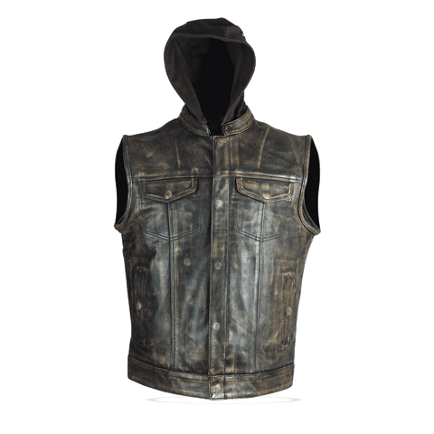 HMM914HDB Distressed Brown Motorcycle Club Leather Vest with Hood