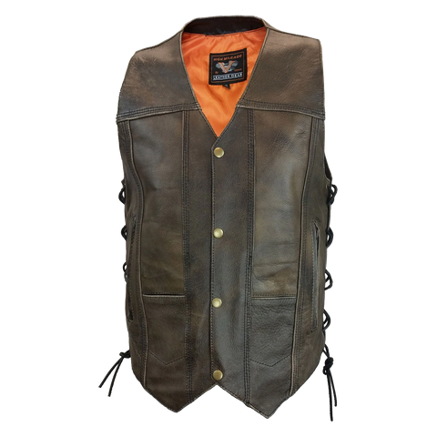 HMM915DB Men's Distressed Brown 10 Pocket Vest