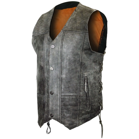 HMM915DG Men's Distressed Gray 10 Pocket Vest
