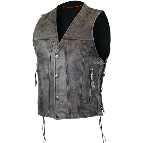 HMM940DG Men's Distressed Grey Leather Gambler Style Vest with Lace Sides - Daytona Bikers Wear
