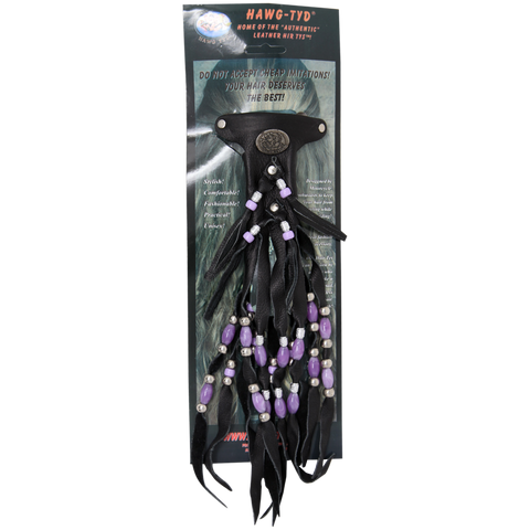 "HTPurple ""Hawg Tyd"" The Authentic Leather Hair TYS - Purple Beads"