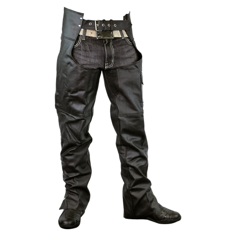 LC405 Zip-Out Insulated and Lined Plain Biker Leather Chaps