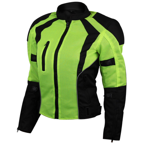 Womens Advanced 3-Season CE Armor Hi-Vis Mesh Motorcycle Jacket in Neon Green