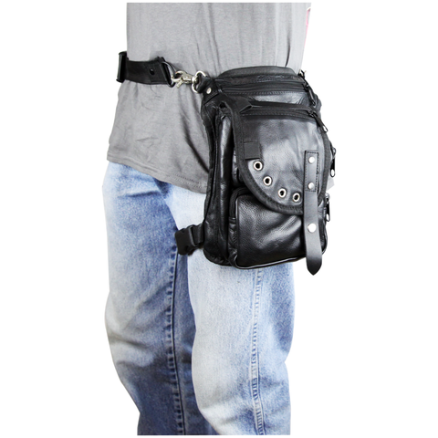 VA564 Black Carry Leather Thigh Bag with Waist Belt and concealed Gun Pocket