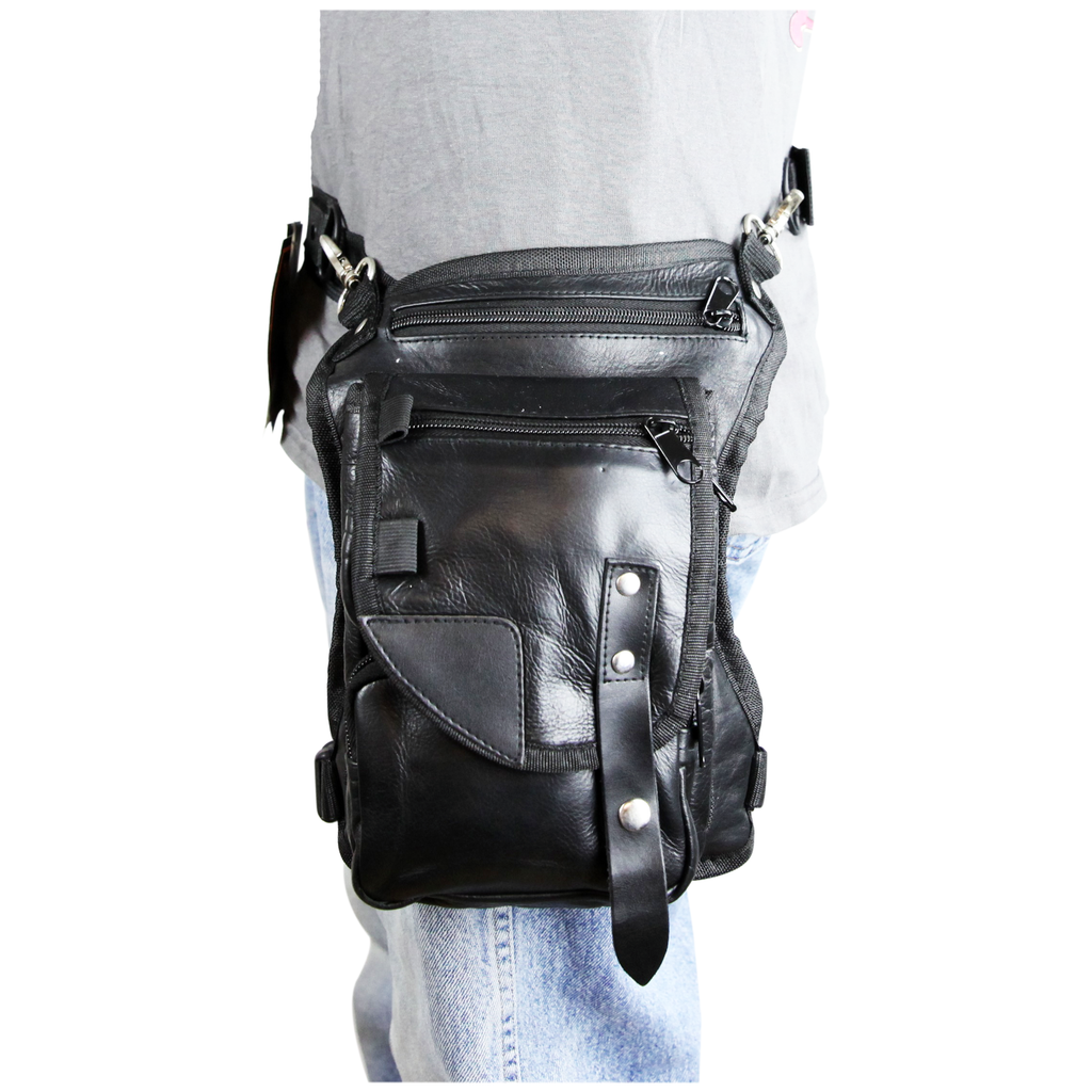 VA565 Black Carry Leather Thigh Bag with Waist Belt and concealed Gun Pocket