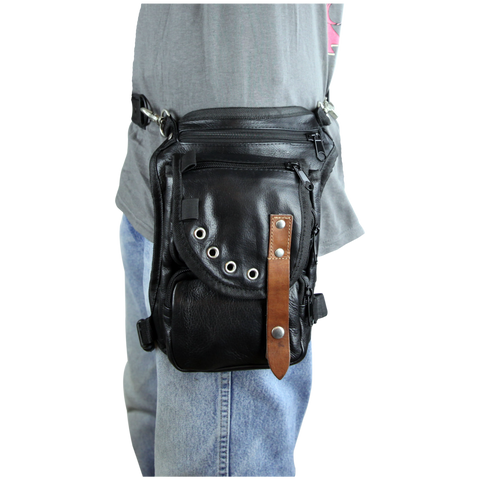 VA566 Black Carry Leather Thigh Bag with Waist Belt and concealed Gun Pocket
