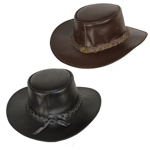 VA601 Bush Walker Outback Leather Hat in Black or Brown