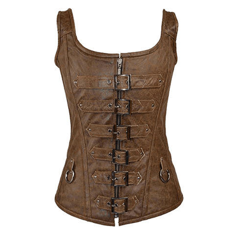 VC1318R Vance Leather 6 Buckle Zip Front Corset with Shoulder Straps