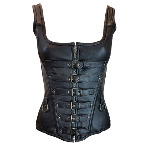 VC1318 Vance Leather 6 Buckle Zip Front Corset with Shoulder Straps