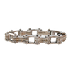 VJ1105 Silver Ladies Bike Chain Bracelet with White Crystal Centers