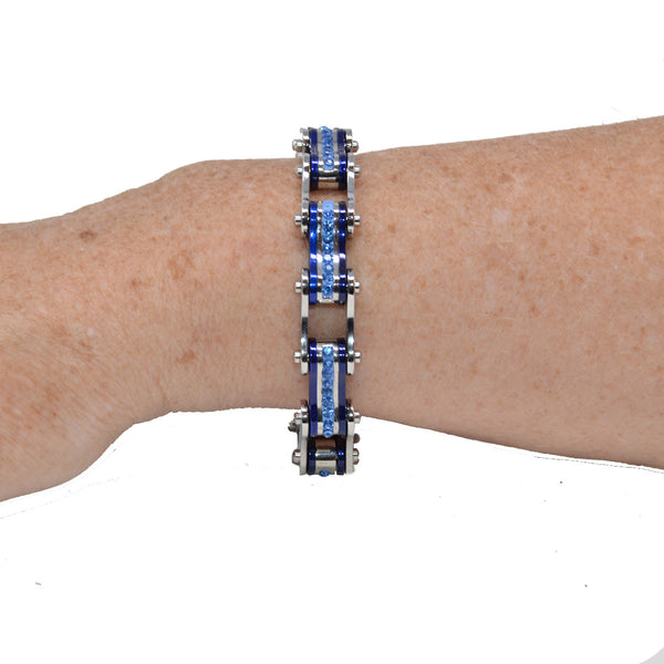VJ1110 Two Tone Silver and Candy Blue Bike Chain Bracelet with Blue Crystal Centers - Daytona Bikers Wear